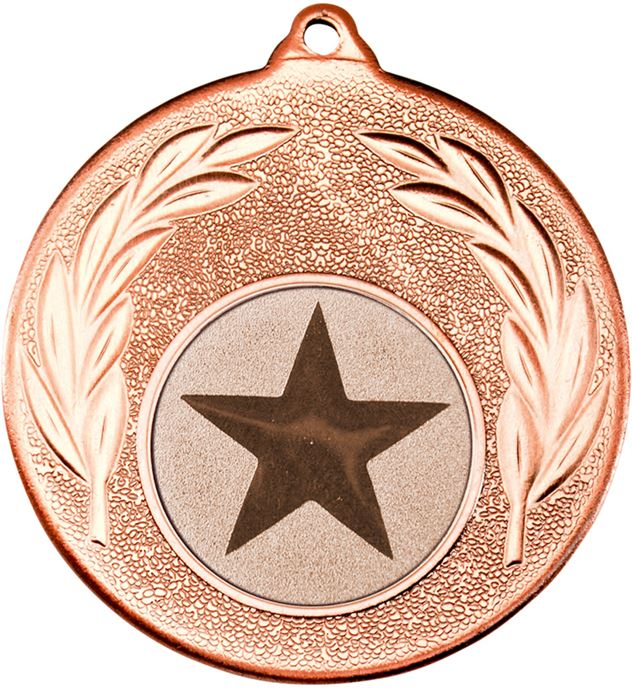 "Bronze Leaf Medal with 1"" Star Centre Disc 50mm (2"")"