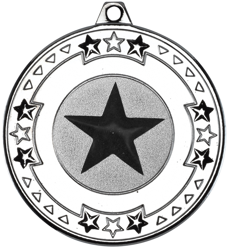 "Silver Star & Pattern Medal with 1"" Star Centre Disc 50mm (2"")"