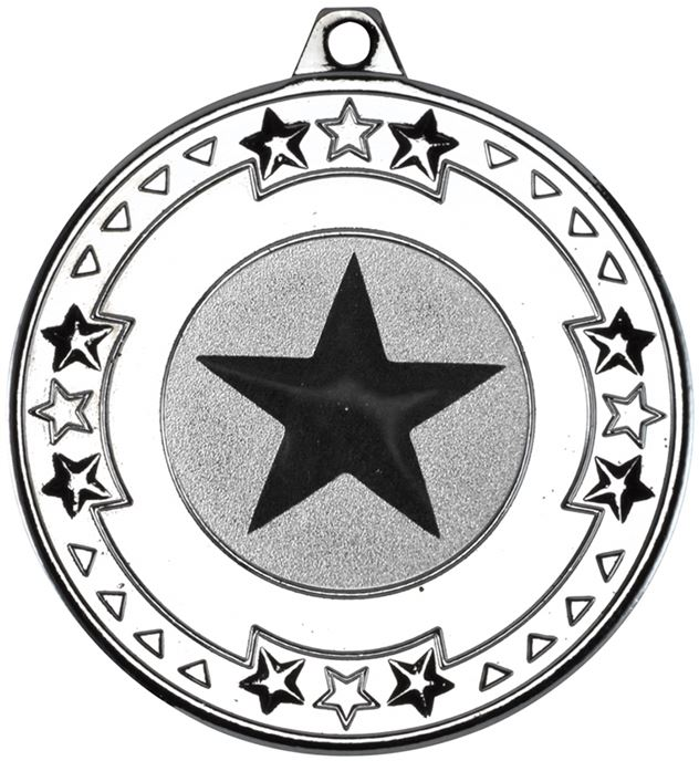 """Silver Star & Pattern Medal with 1"""" Star Centre Disc 50mm (2"""")"""