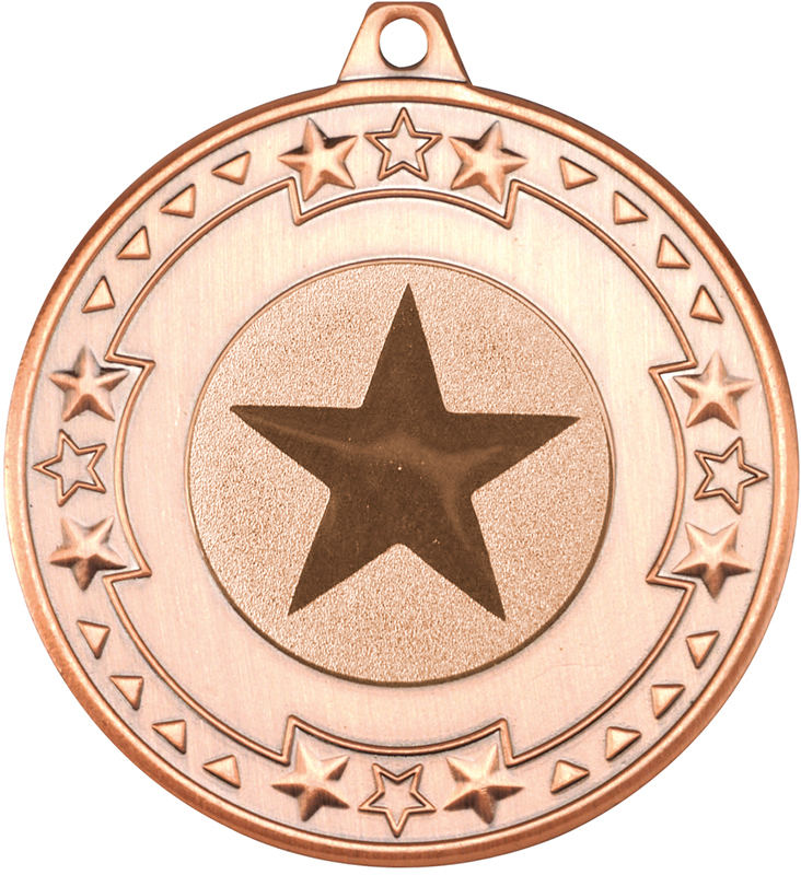 """Bronze Star & Pattern Medal with 1"""" Star Centre Disc 50mm (2"""")"""
