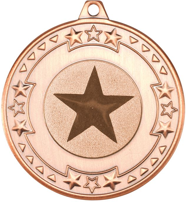 "Bronze Star & Pattern Medal with 1"" Star Centre Disc 50mm (2"")"