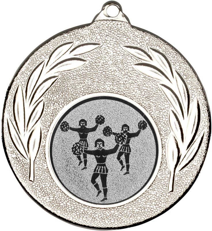 "Silver Leaf Medal with 1"" Cheer leading Centre Disc 50mm (2"")"