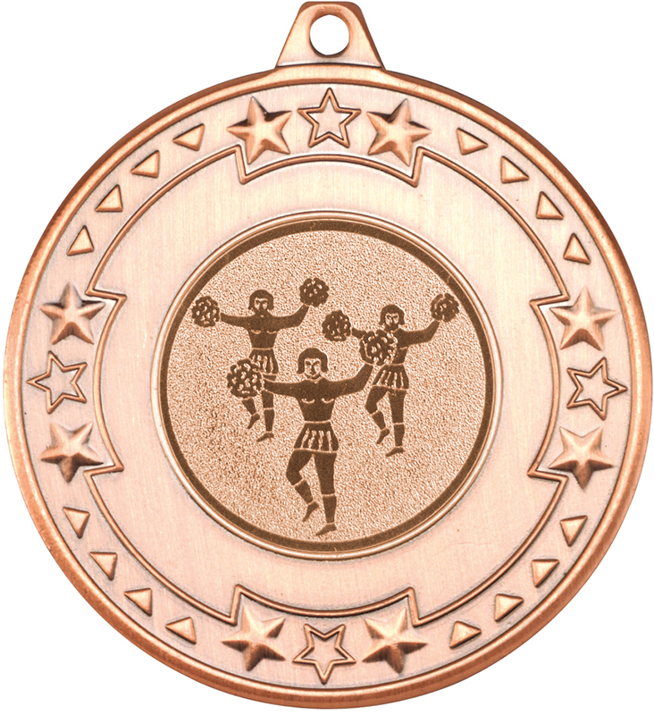 """Bronze Star & Pattern Medal with 1"""" Cheer Leading Centre Disc 50mm (2"""")"""