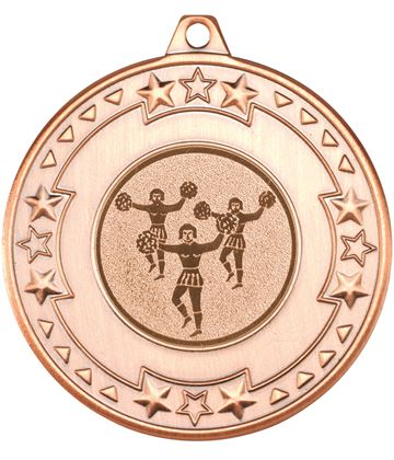 "Bronze Star & Pattern Medal with 1"" Cheer Leading Centre Disc 50mm (2"")"
