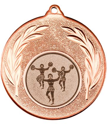 """Bronze Leaf Medal with 1"""" Cheer leading Centre Disc 50mm (2"""")"""