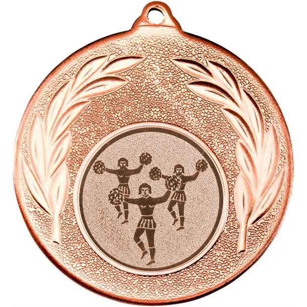 "Bronze Leaf Medal with 1"" Cheer leading Centre Disc 50mm (2"")"