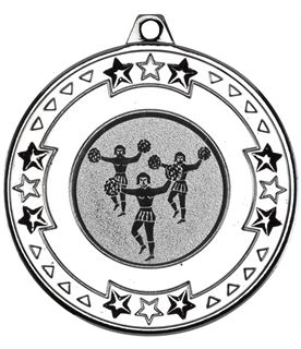 """Silver Star & Pattern Medal with 1"""" Cheer Leading Centre Disc 50mm (2"""")"""