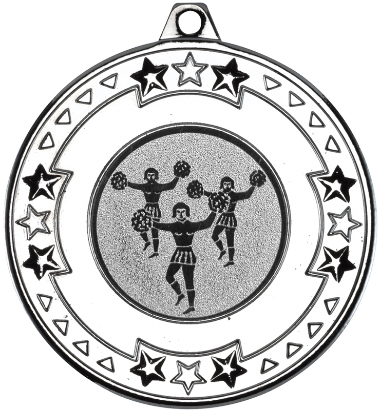"Silver Star & Pattern Medal with 1"" Cheer Leading Centre Disc 50mm (2"")"