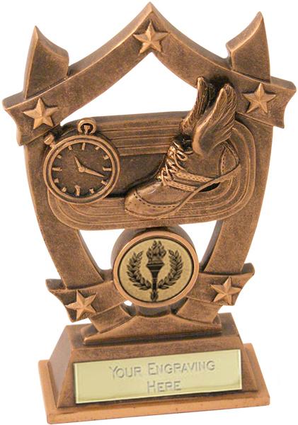 "Antique Gold Resin Five Star Athletics Trophy 16cm (6.25"")"