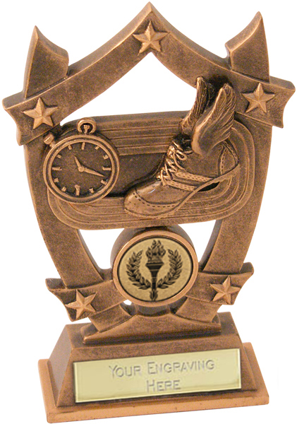 "Antique Gold Resin Five Star Athletics Trophy 14cm (5.5"")"