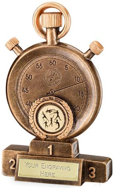 "Gold Resin Athletics Stopwatch on Podium Trophy 13.5cm (5.25"")"