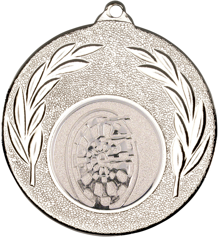 """Silver Leaf Medal with 1"""" Dart Board Centre Disc 50mm (2"""")"""