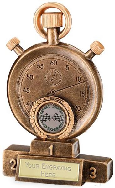 "Antique Gold Stopwatch on Podium Motorsports Trophy 18cm (7"")"
