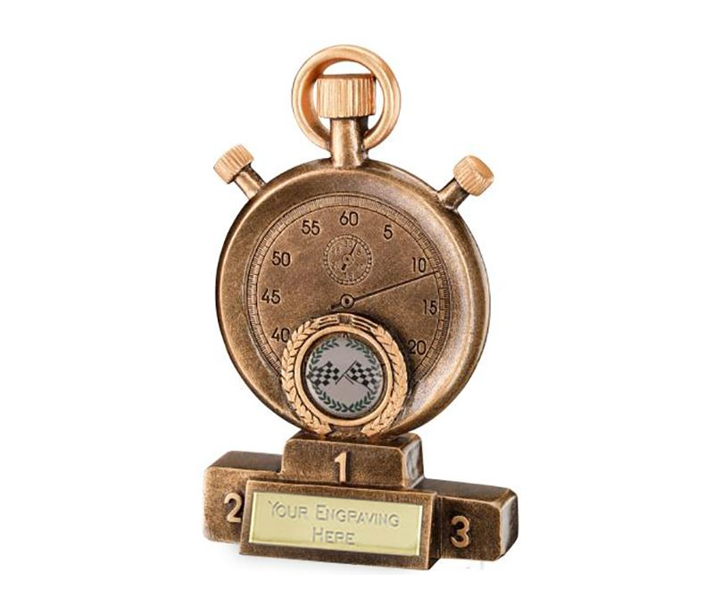 "Antique Gold Stopwatch on Podium Motorsports Trophy 16cm (6.25"")"