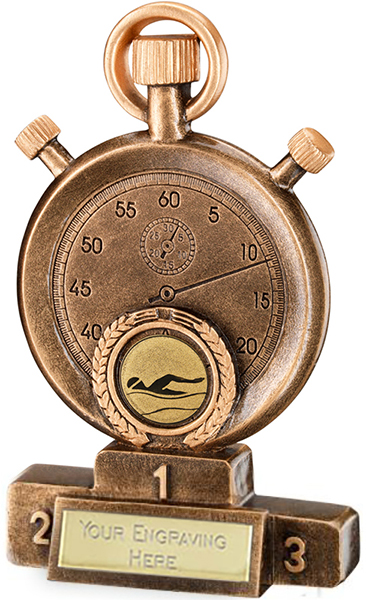 """Gold Resin Swimming Stopwatch on Podium Trophy 16cm (6.25"""")"""
