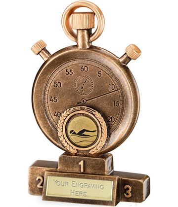 """Gold Resin Swimming Stopwatch on Podium Trophy 18cm (7"""")"""