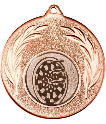 "Bronze Leaf Medal with 1"" Dart Board Centre Disc 50mm (2"")"