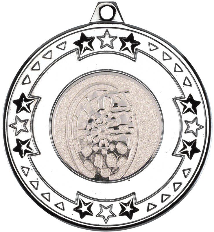 """Silver Star & Pattern Medal with 1"""" Dart Board Centre Disc 50mm (2"""")"""