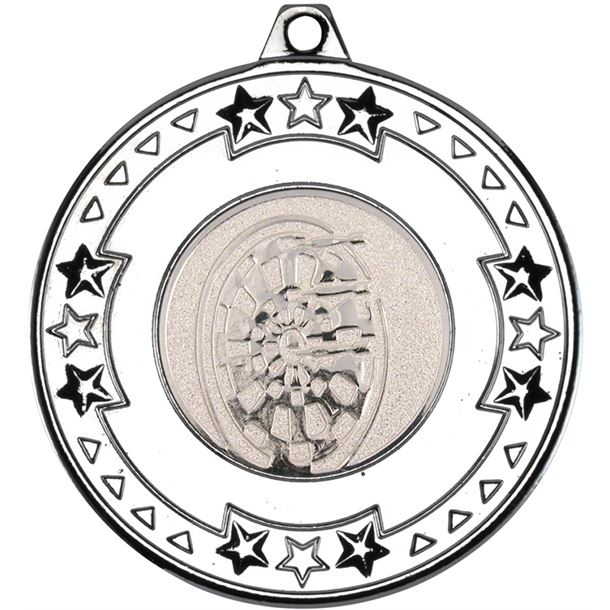 "Silver Star & Pattern Medal with 1"" Dart Board Centre Disc 50mm (2"")"