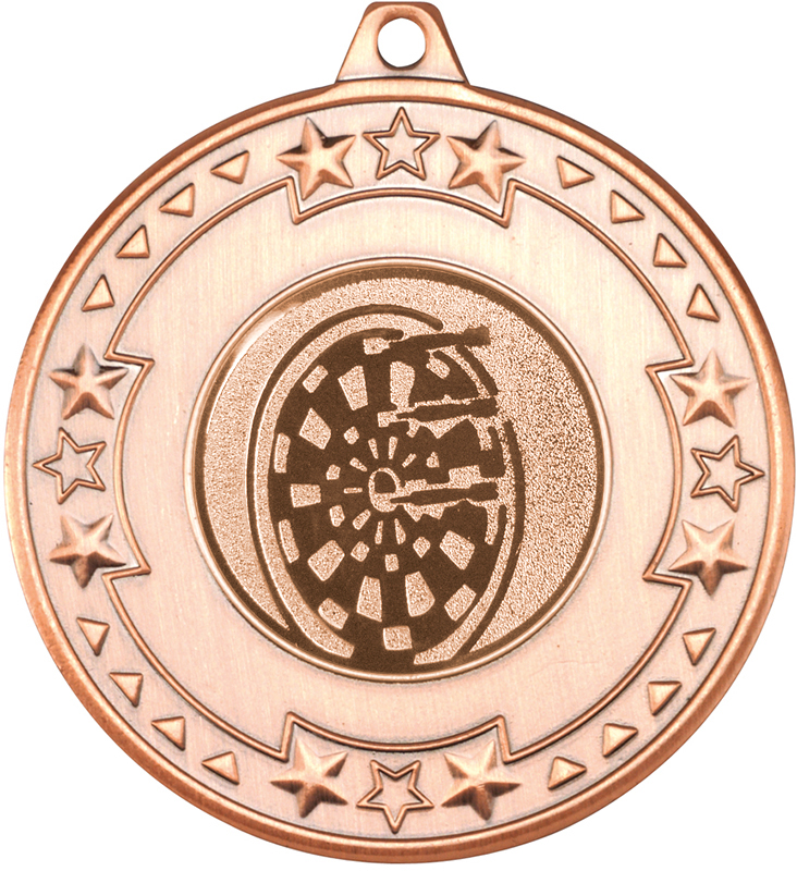 """Bronze Star & Pattern Medal with 1"""" Dart Board Centre Disc 50mm (2"""")"""