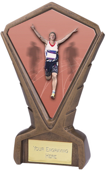 "Gold Resin Phoenix Male Running Centre Trophy 17cm (6.75"")"