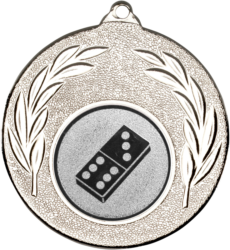 """Silver Leaf Medal with 1"""" Domino Centre Disc 50mm (2"""")"""