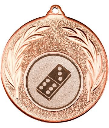 """Bronze Leaf Medal with 1"""" Domino Centre Disc 50mm (2"""")"""