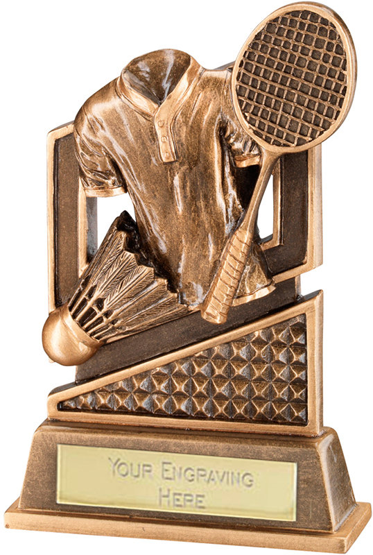 "Antique Gold Badminton Trophy with Shuttlecock & Diamond Pattern 12cm (4.75"")"