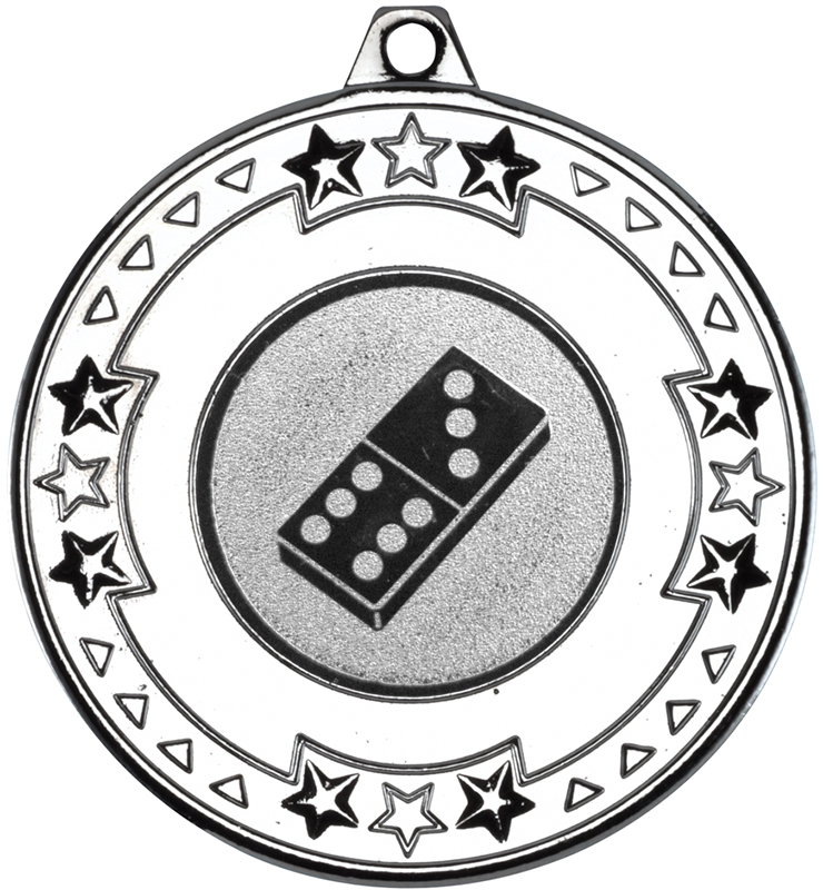 "Silver Star & Pattern Medal with 1"" Domino Centre Disc 50mm (2"")"