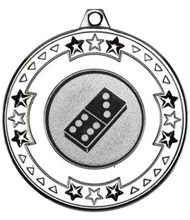 """Silver Star & Pattern Medal with 1"""" Domino Centre Disc 50mm (2"""")"""