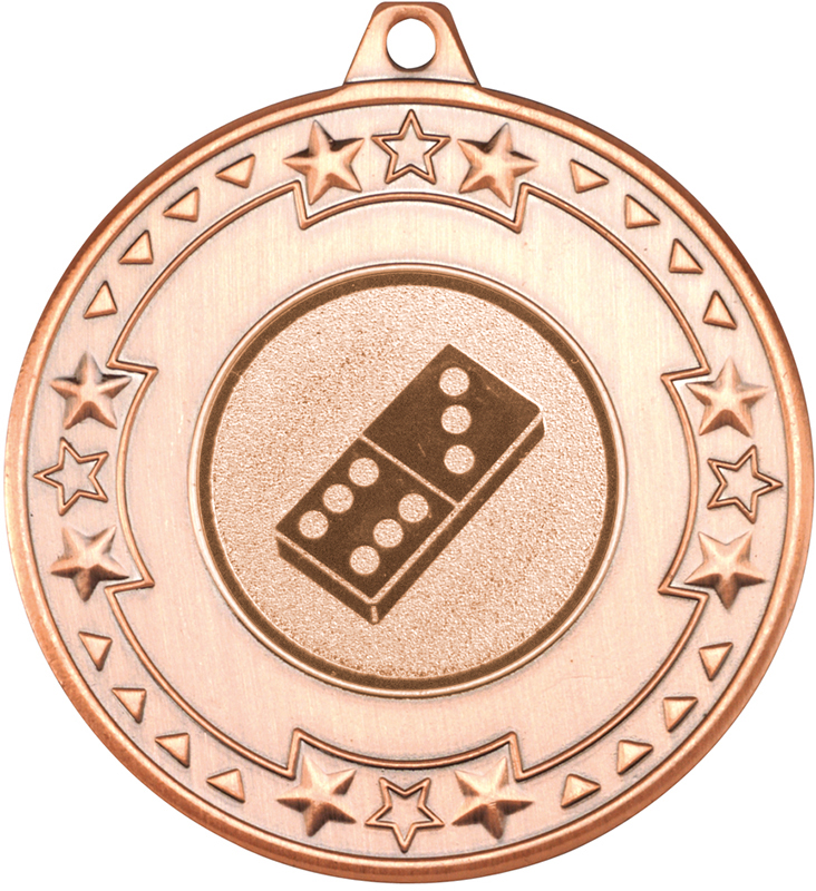 """Bronze Star & Pattern Medal with 1"""" Domino Centre Disc 50mm (2"""")"""