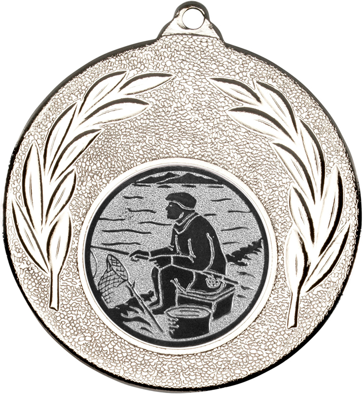 "Silver Leaf Medal with 1"" Fishing Centre Disc 50mm (2"")"