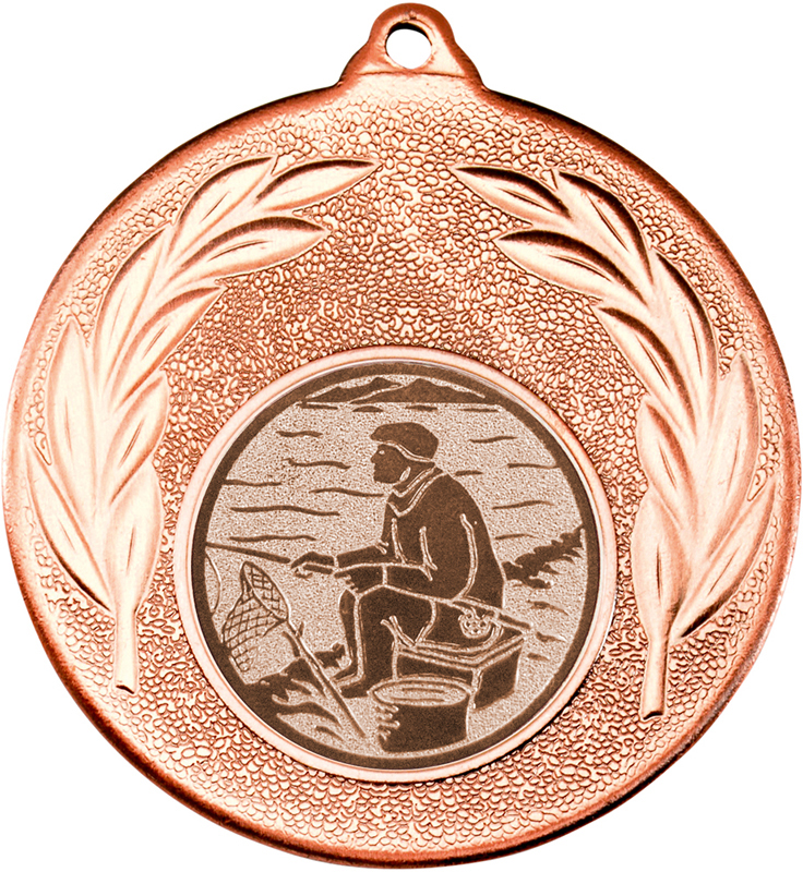 "Bronze Leaf Medal with 1"" Fishing Centre Disc 50mm (2"")"