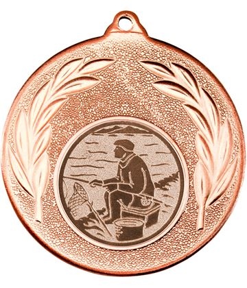 """Bronze Leaf Medal with 1"""" Fishing Centre Disc 50mm (2"""")"""