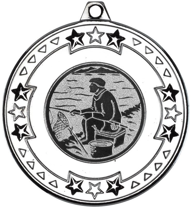"""Silver Star & Pattern Medal with 1"""" Fishing Centre Disc 50mm (2"""")"""