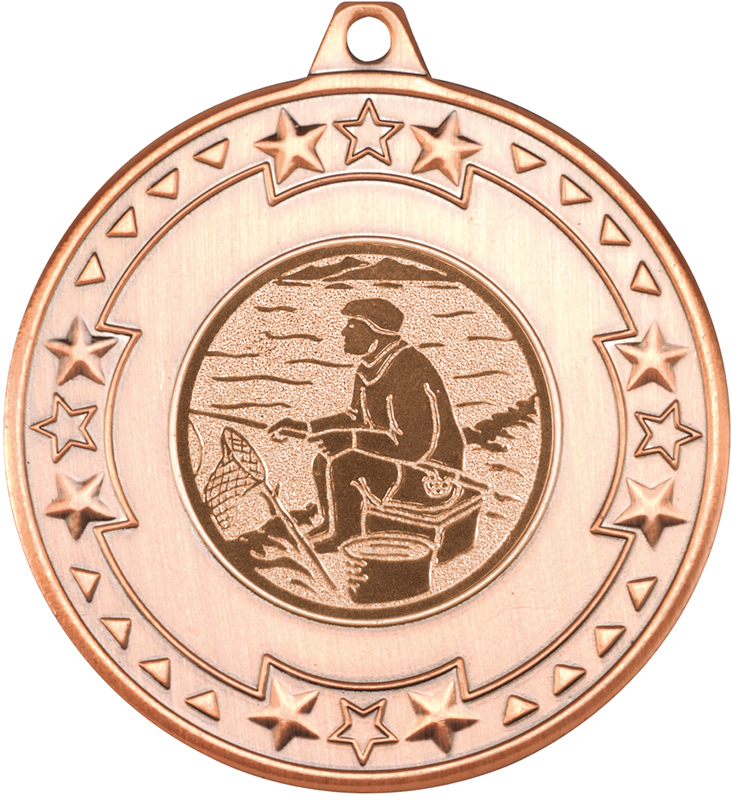 """Bronze Star & Pattern Medal with 1"""" Fishing Centre Disc 50mm (2"""")"""