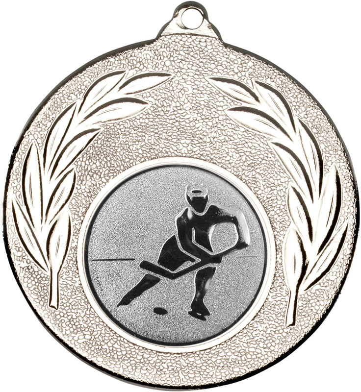 """Silver Leaf Medal with 1"""" Ice Hockey Centre Disc 50mm (2"""")"""