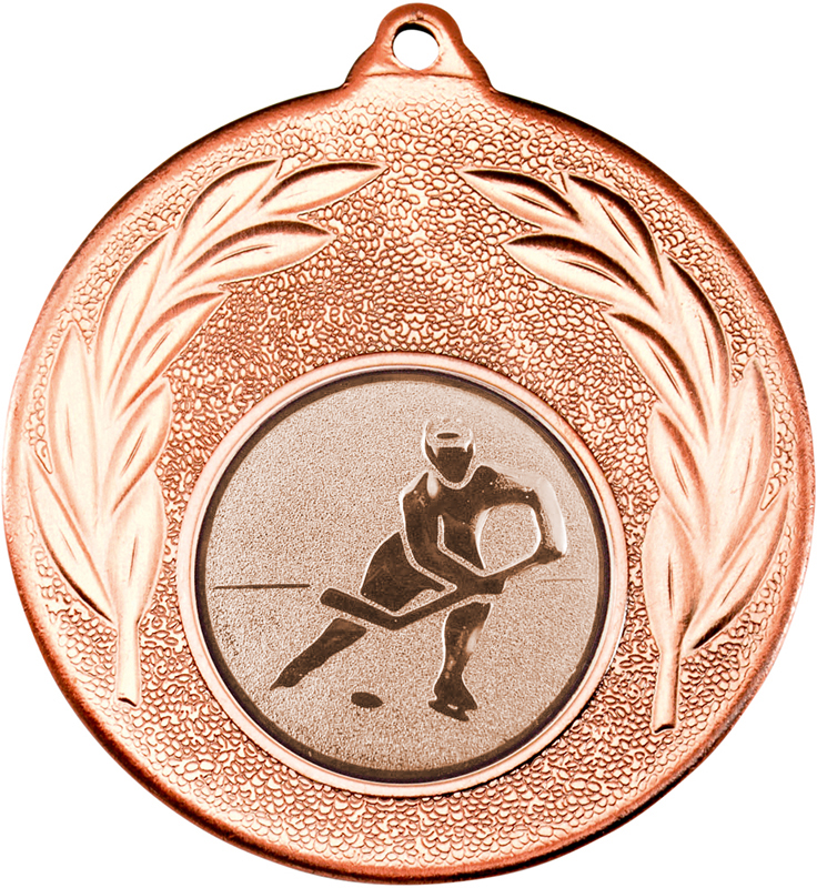 """Bronze Leaf Medal with 1"""" Ice Hockey Centre Disc 50mm (2"""")"""