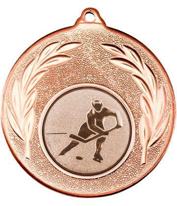 "Bronze Leaf Medal with 1"" Ice Hockey Centre Disc 50mm (2"")"