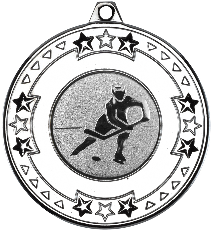 """Silver Star and Pattern Medal with 1"""" Ice Hockey Centre Disc 50mm (2"""")"""