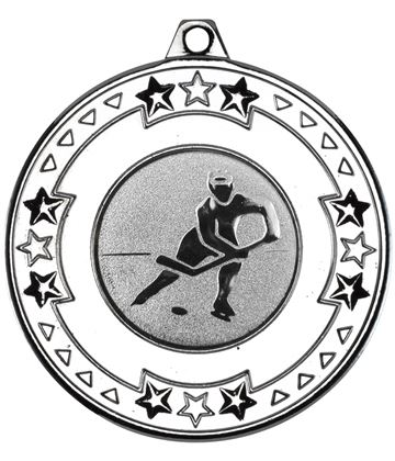 "Silver Star and Pattern Medal with 1"" Ice Hockey Centre Disc 50mm (2"")"