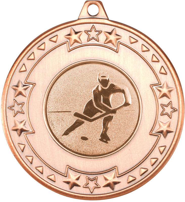 "Bronze Star and Pattern Medal with 1"" Ice Hockey Centre Disc 50mm (2"")"