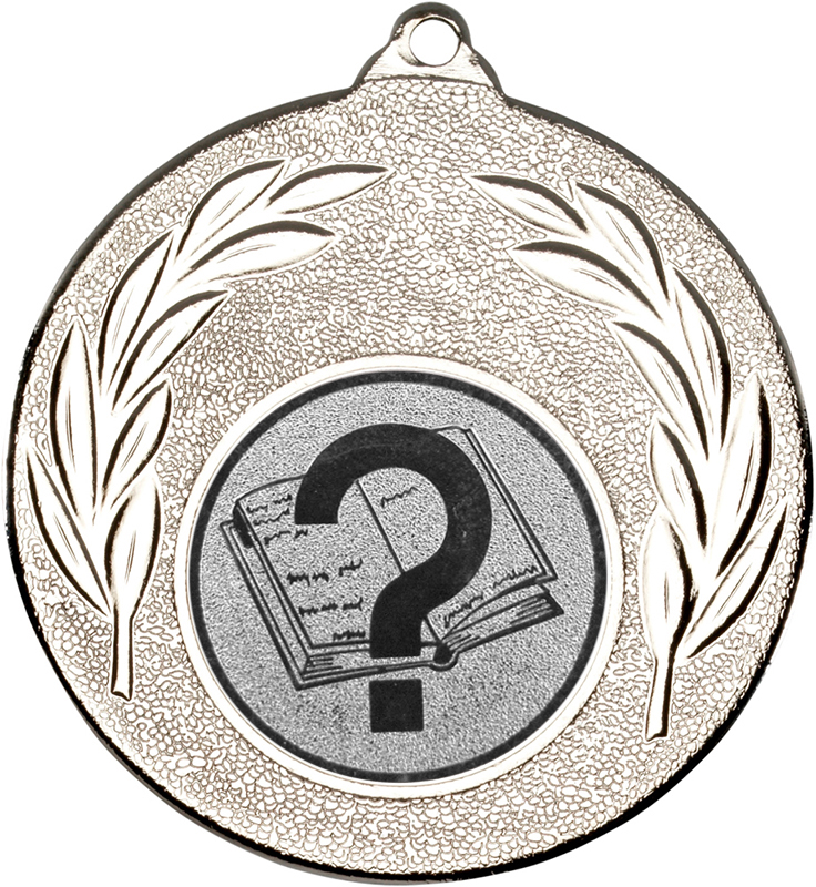 "Silver Leaf Medal with 1"" Quiz Centre Disc 50mm (2"")"