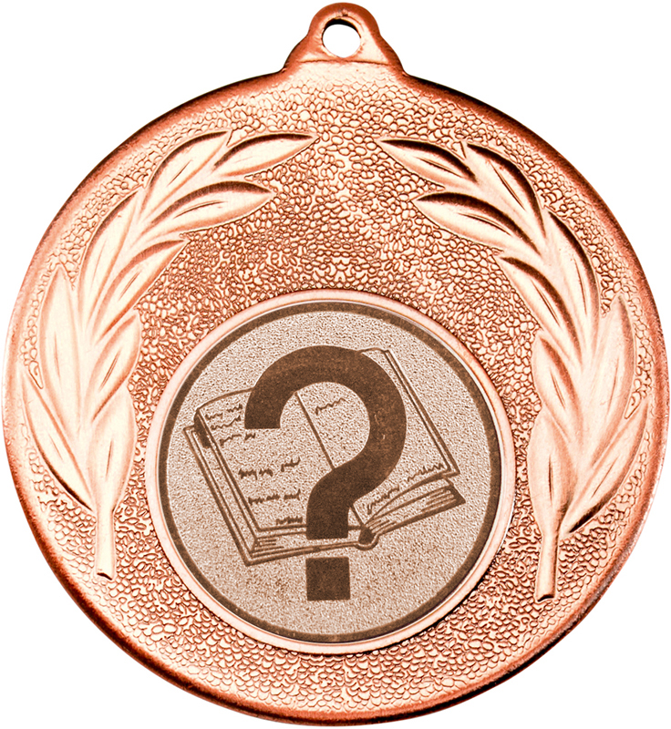 "Bronze Leaf Medal with 1"" Quiz Centre Disc 50mm (2"")"