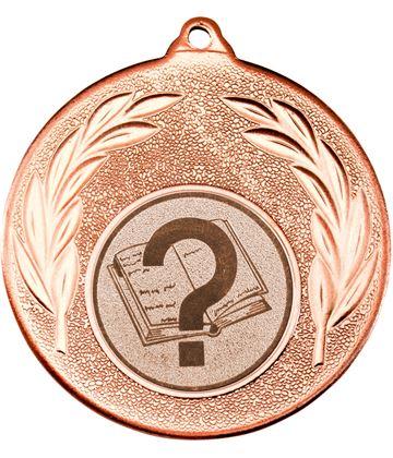 "Bronze Leaf Medal with 1"" Quiz Centre Disc 50mm (2"")"
