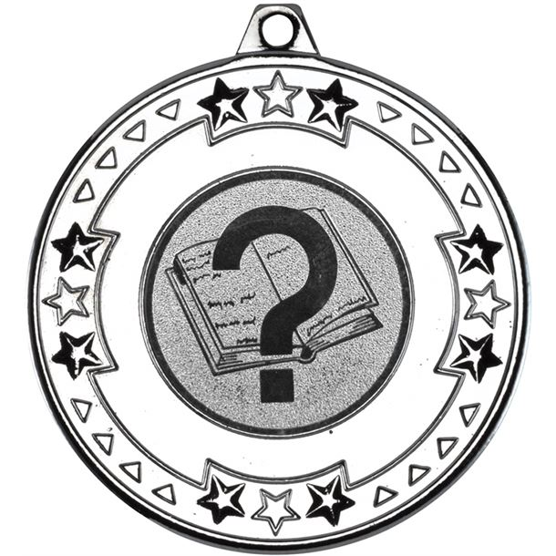 """Silver Star & Pattern Medal with 1"""" Quiz Centre Disc 50mm (2"""")"""