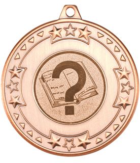 """Bronze Star & Pattern Medal with 1"""" Quiz Centre Disc 50mm (2"""")"""