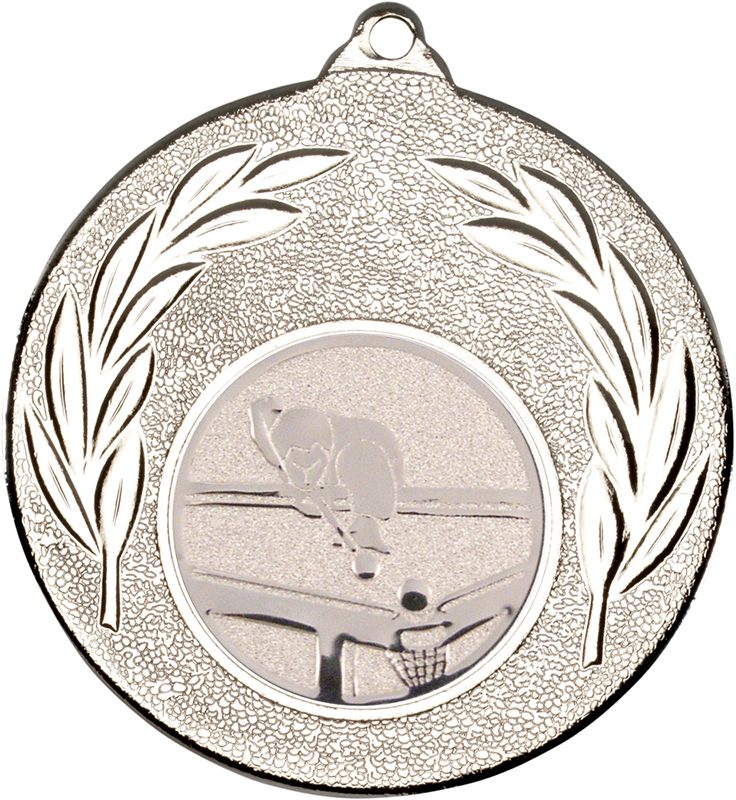 """Silver Leaf Medal with 1"""" Pool Centre Disc 50mm (2"""")"""