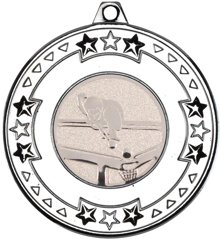 "Silver Star & Pattern Medal with 1"" Pool Centre Disc 50mm (2"")"