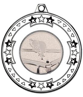 """Silver Star & Pattern Medal with 1"""" Pool Centre Disc 50mm (2"""")"""